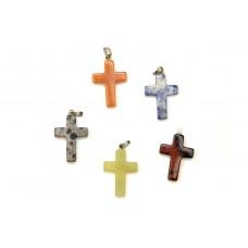 Μενταγιόν σταυρός - Σοδάλιθος, ίασπις, νεφρίτης, αβεντουρίνη